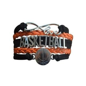Girls Basketball Bracelet - Black & Orange